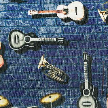 Tissu pour doublure veste sur-mesure motif guitare sur fond bleu
