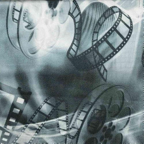 Tissu pour doublure veste sur-mesure motif pellicule film sur fond noir