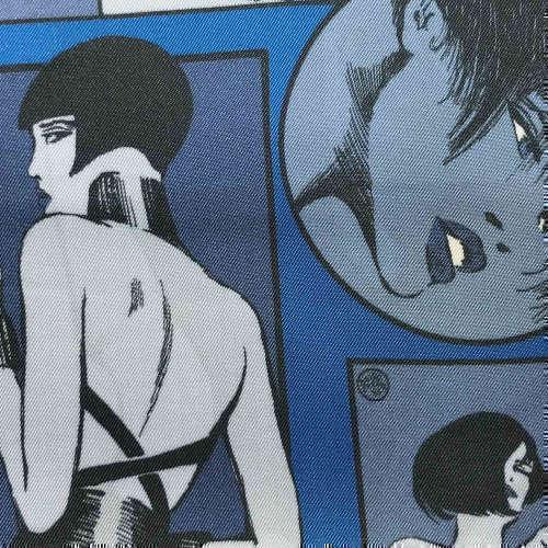 Tissu pour doublure veste sur-mesure motif femme sexy sur fond bleu