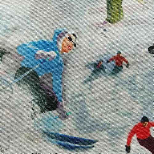 Tissu pour doublure veste sur-mesure motif ski vintage