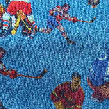 Tissu pour doublure veste sur-mesure motif hockey sur fond bleu
