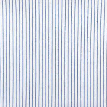 Tissu pour chemise sur-mesure popeline blanc rayé bleu