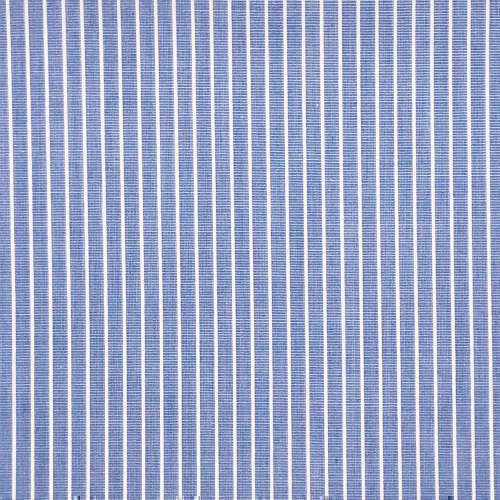 Tissu pour chemise sur-mesure popeline bleu rayé blanc