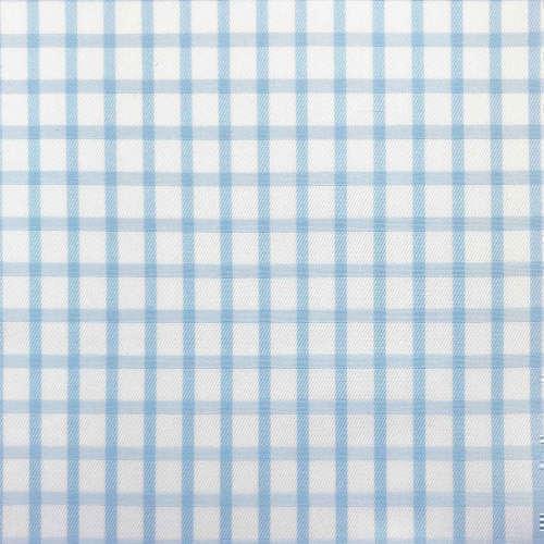 Tissu pour chemise sur-mesure twill blanc carreaux bleu ciel