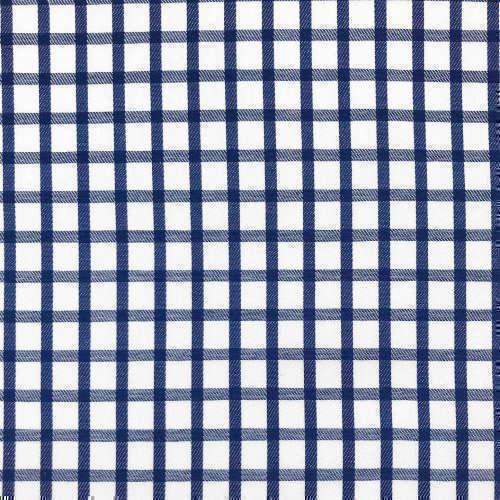Tissu pour chemise sur-mesure twill blanc carreaux bleu marine