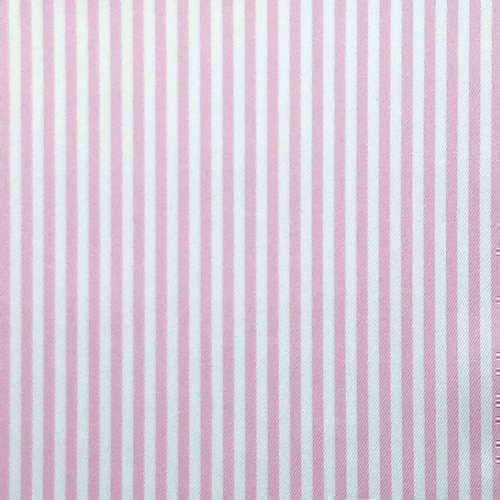 Tissu pour chemise sur-mesure twill rayé blanc et rose