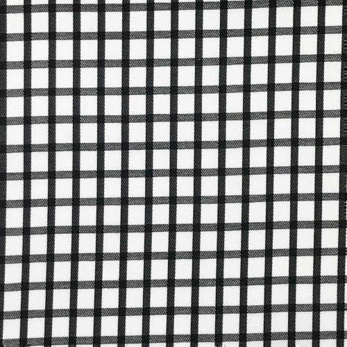 Tissu pour chemise sur-mesure twill blanc carreaux noir