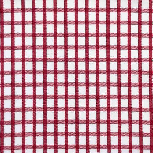 Tissu pour chemise sur-mesure twill blanc carreaux rouge