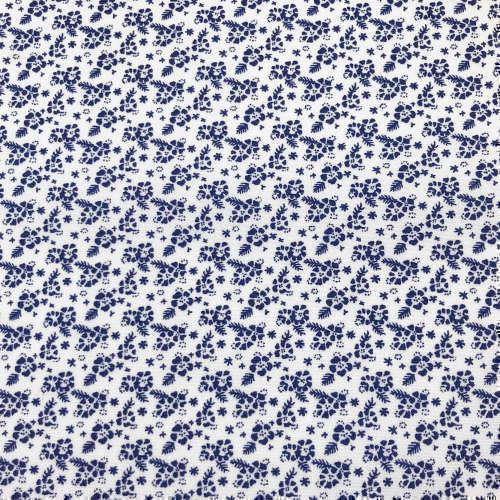 Tissu pour chemise sur-mesure popeline blanc motif fleur bleu