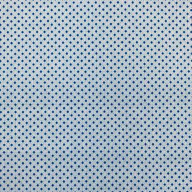 Tissu pour chemise sur-mesure popeline blanc motif bleu