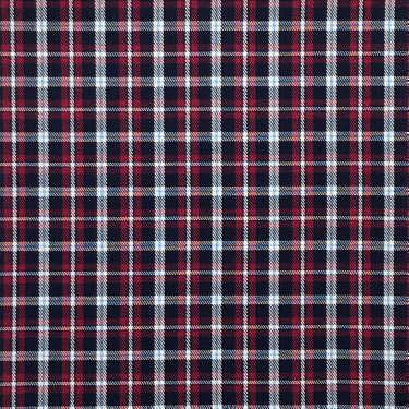Tissu pour chemise sur-mesure twill carreaux bleu marine et rouge