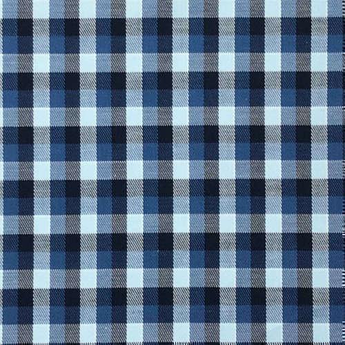Tissu pour chemise sur-mesure twill carreaux bleu