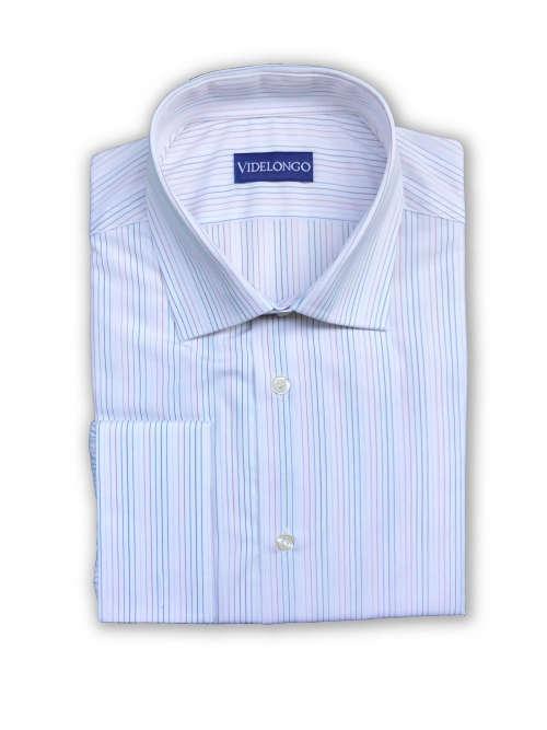 Chemise blanche à fines rayures de couleur