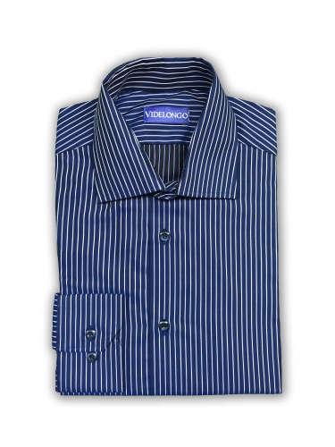 Chemise bleu marine à rayures blanches