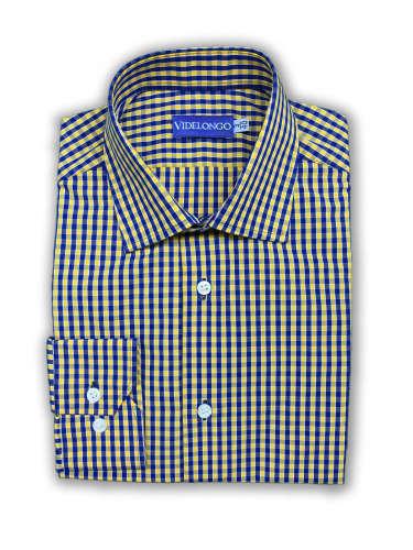 Chemise à carreaux jaune et bleu