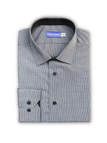 Chemise grise à micro carreaux blanc et noir